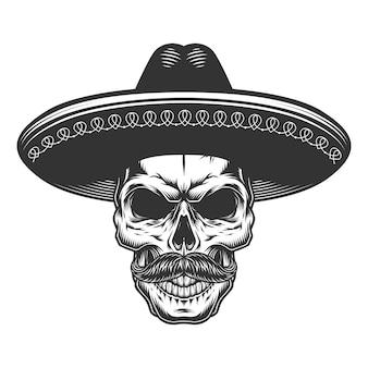Crânio no sombrero mexicano
