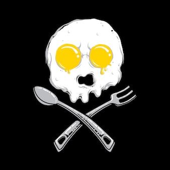 Crânio ovo café da manhã manhã comida ilustração gráfica arte design de camiseta