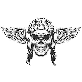 Crânio piloto alado monocromático vintage