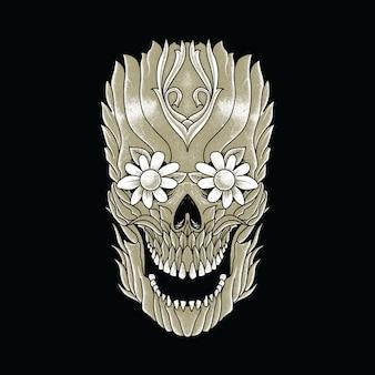 Crânio planta horror gráfico ilustração