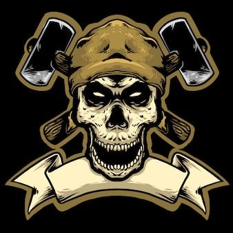 Crânio preto com logotipo do martelo