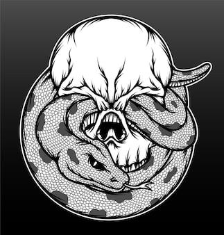 Crânio preto e branco com ilustração de cobra.
