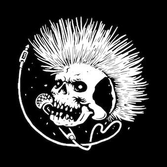 Crânio punk música linha ilustração gráfica arte vetorial design de t-shirt