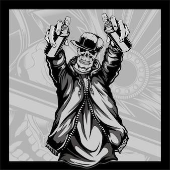 Crânio que desgasta um chapéu que prende o crânio da pintura à pistola que desgasta um chapéu que prende a pintura à pistola