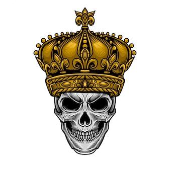 Crânio rei coroa vector