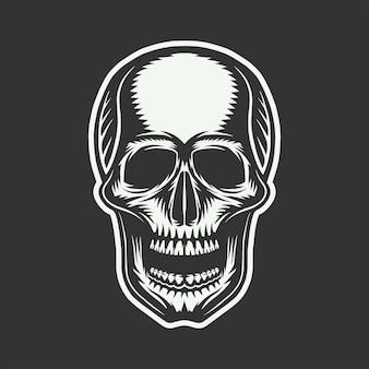 Crânio retro vintage. arte gráfica. ilustração vetorial. arte gráfica