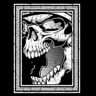 Crânio retrô, vintage, mão de detalhe de desenho