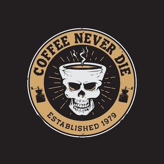 Crânio retrô xícara de café com mão desenhando logotipo