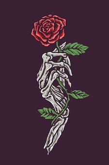 Crânio romântico vintage segurando flor