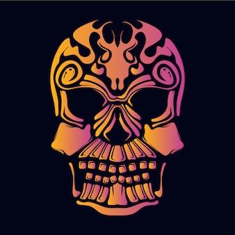 Crânio rosto decorativo retro neon cor ilustração