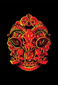 Crânio satânico desenhado à mão
