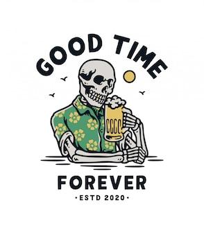 Crânio segurando uma caneca de cerveja premium