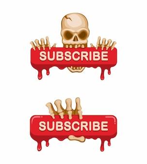 Crânio segurando uma placa de sangue botão de inscrição canal de streaming de vídeo na ilustração de desenho animado