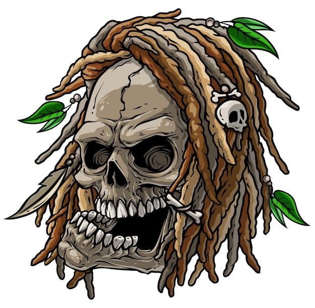 Crânio selvagem jamaicano de desenhos animados com dreadlocks