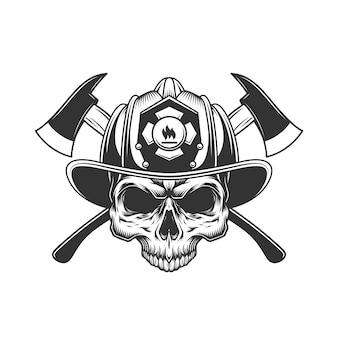 Crânio sem mandíbula no capacete de bombeiro