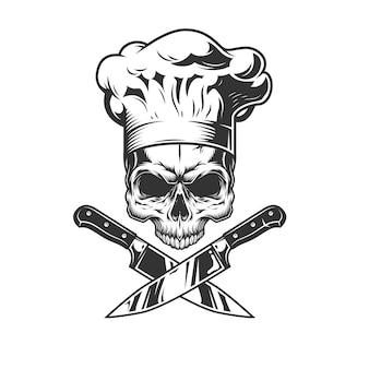 Crânio sem mandíbula no chapéu de chef