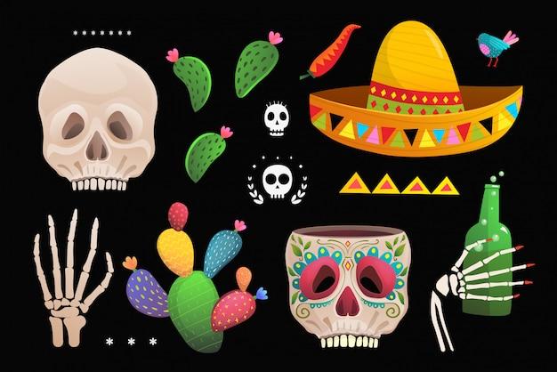 Crânio sombrero cacto símbolos mexicanos