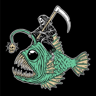 Crânio sombrio cavalgando peixe fantasma isolado no preto