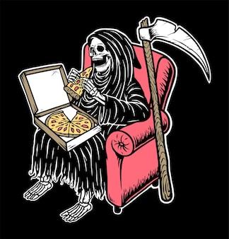 Crânio sombrio comendo pizza