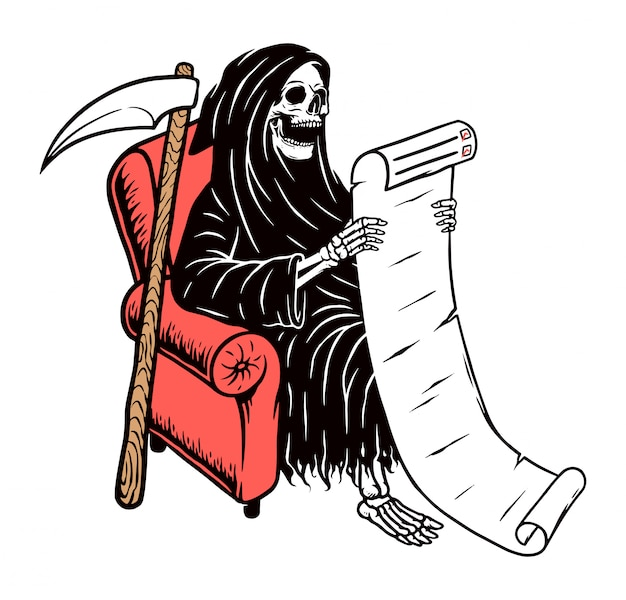 Crânio sombrio leia a lista em papel