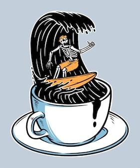 Crânio surfando em ilustração de café