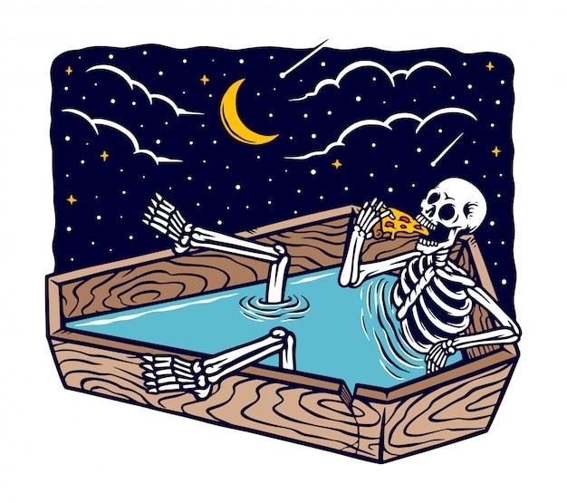 Crânio tomando banho enquanto come pizza ilustração