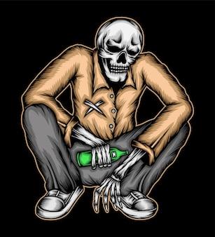 Crânio traz garrafa de cerveja. vetor premium