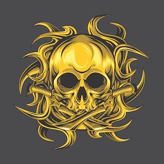 Crânio tribal dourado
