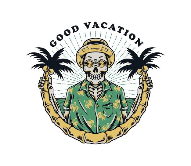 Crânio tropical com coqueiros premium