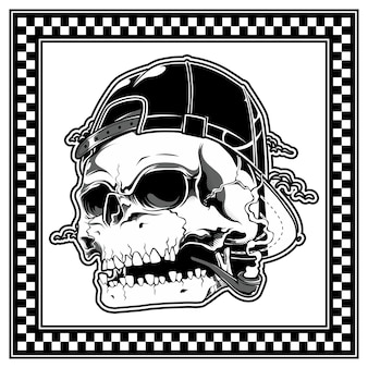 Crânio usando chapéu e cachimbo