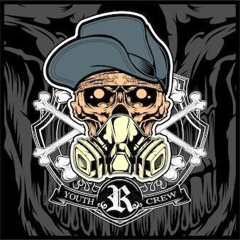 Crânio usando chapéu e máscara de gás