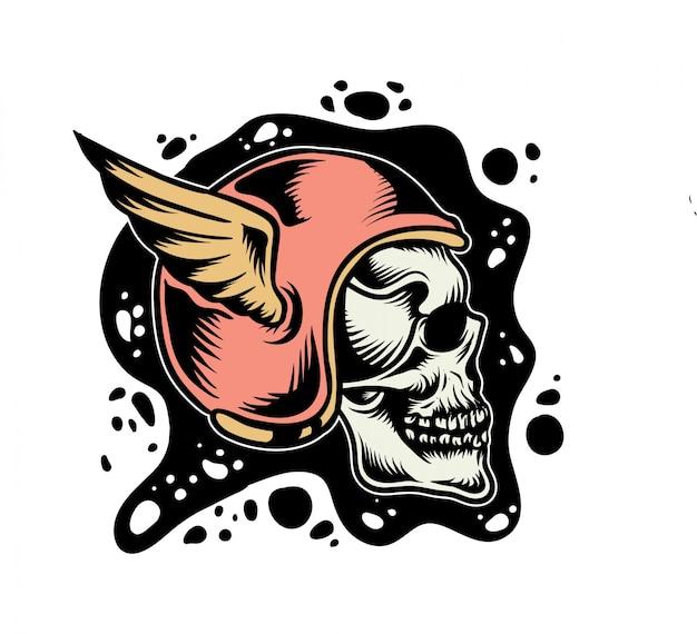 Crânio usando ilustração vetorial de capacete retrô