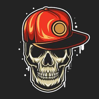 Crânio usando snapback chapéu spray pincel ilustração isolada no fundo preto