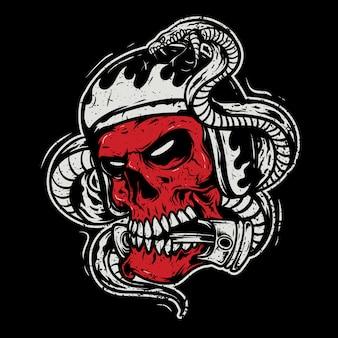 Crânio usando um capacete, mordendo um pistão com uma cobra