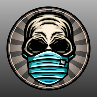 Crânio usando uma ilustração de máscara.