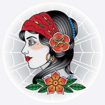 Crânio velho da menina da face do tatuagem