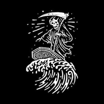 Crânio verão linha ilustração gráfico arte vetorial design t-shirt