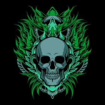 Crânio verde real