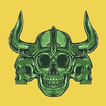 Crânio viking no capacete