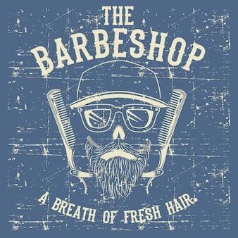 Crânio vintage barber shop logo modelo ilustração clip art