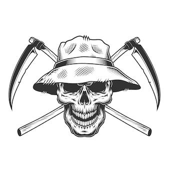 Crânio vintage com chapéu panamá