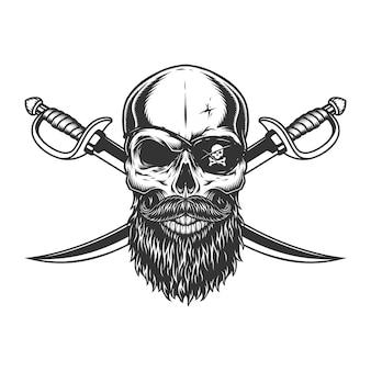 Crânio vintage com tapa-olho de pirata