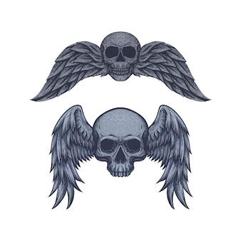 Crânio vintage com vetor livre de asas