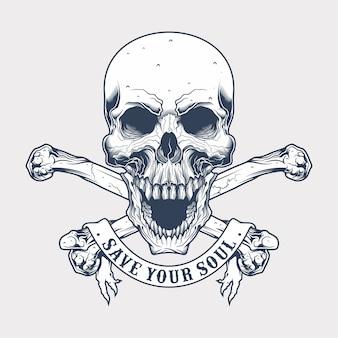 Crânio vintage e ossos cruzados com banner