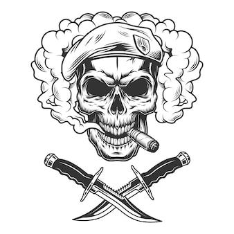 Crânio vintage em boina de selo da marinha