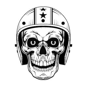 Crânio vintage em ilustração vetorial de capacete. cabeça de motociclista monocromática morta