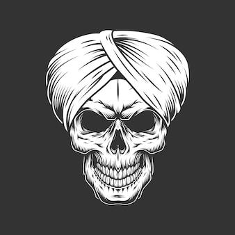 Crânio vintage no turbante tradicional indiano