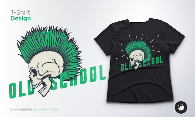 Crânio vintage para design de camisetas