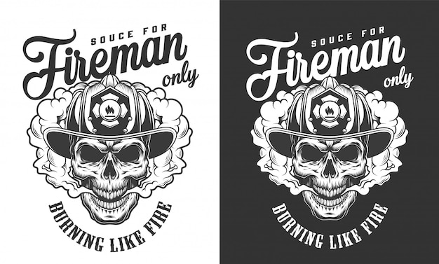Crânio vintage usando distintivo de capacete de bombeiro
