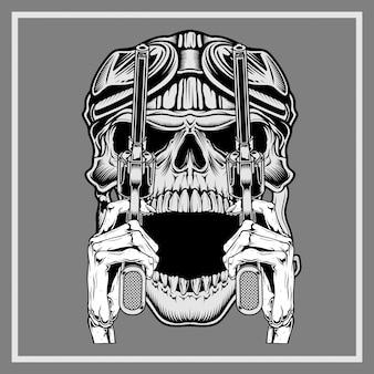 Crânio vintage vestindo capacete retrô segurando a arma